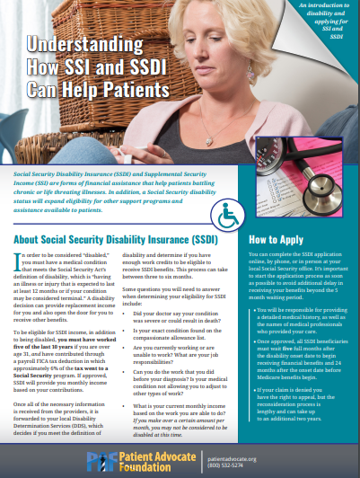Understanding SSI and SSDI | Patient Advocate Foundation